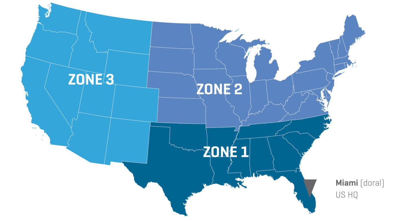 USA map zones